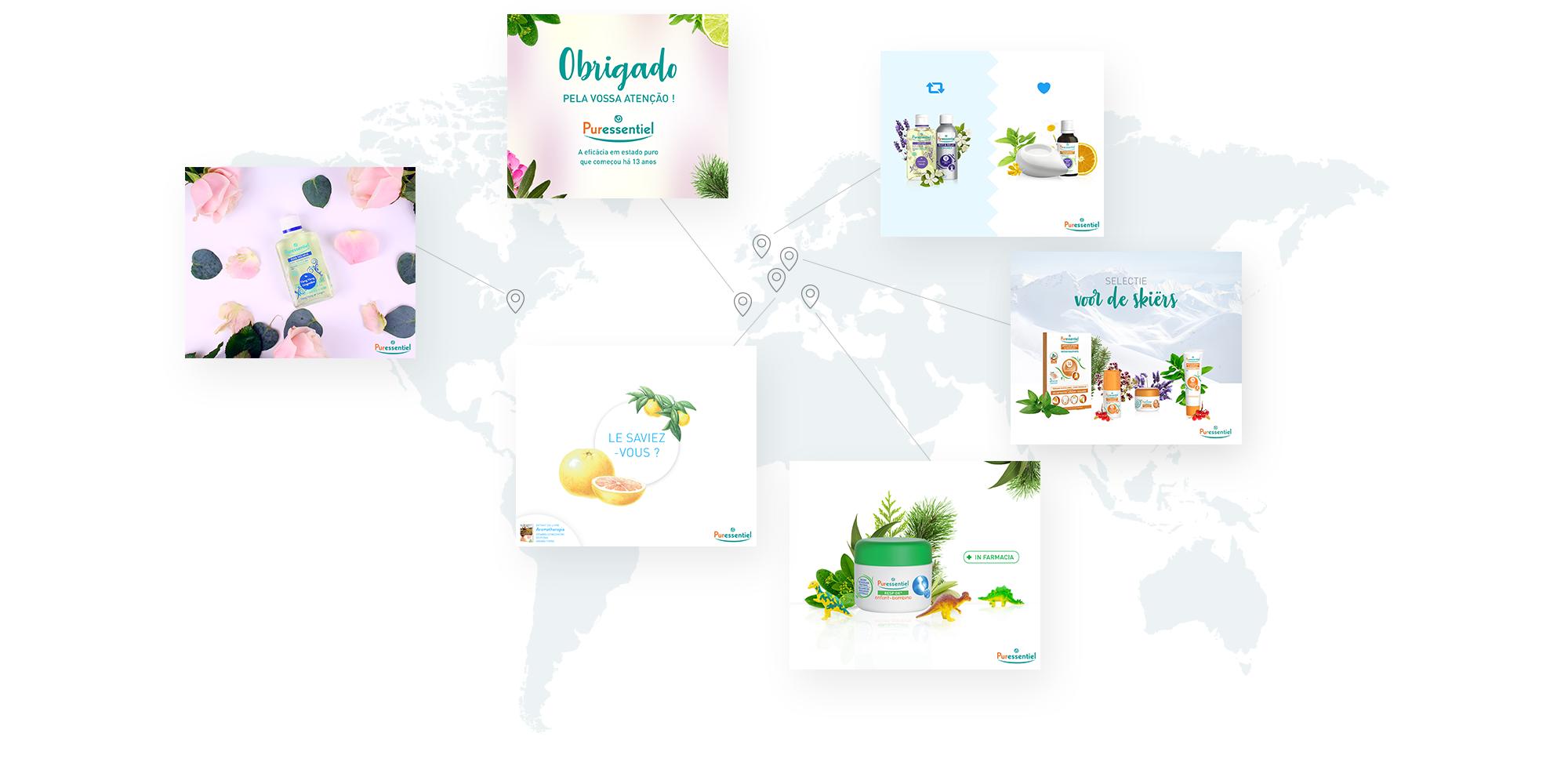 Puressentiel - gestion des réseaux sociaux à l'international par Sharing Agency