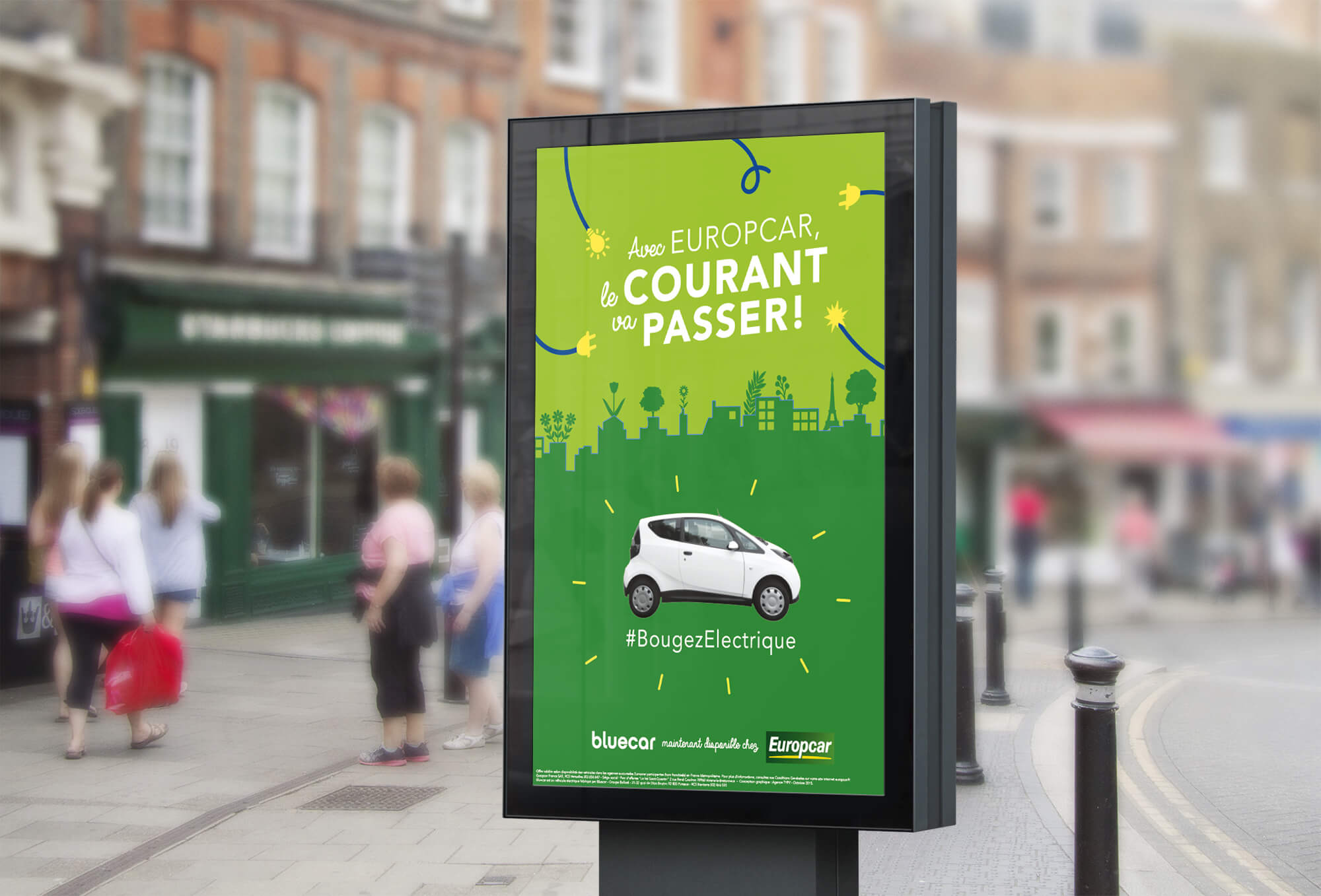 Europcar Bluecar - Campagne de communication par l'agence Sharing