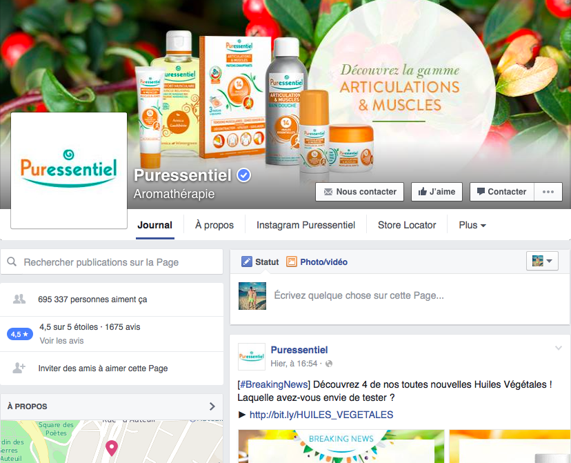 La page Facebook France de Puressentiel, gérée par Sharing