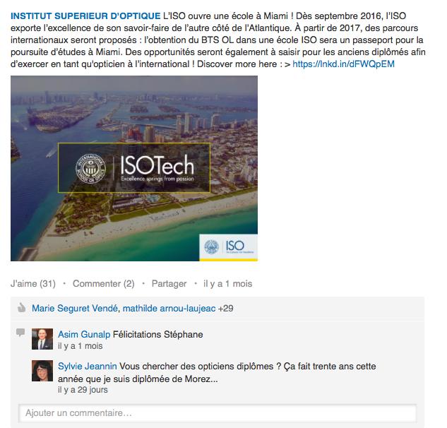 Le compte Linkedin de l'Institut Supérieur d'Optique, géré par Sharing