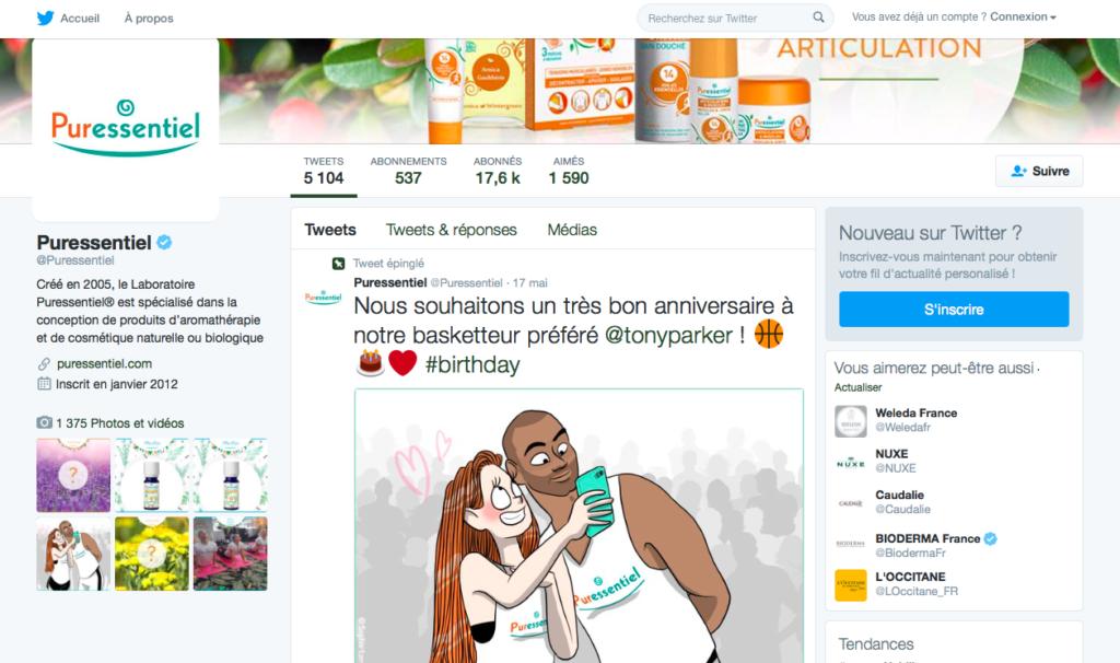 Le compte Twitter France de Puressentiel, géré par Sharing