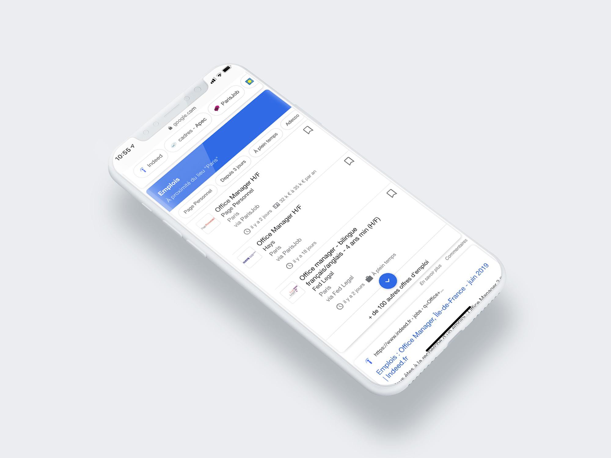 moteur de recherche d'emploi Google