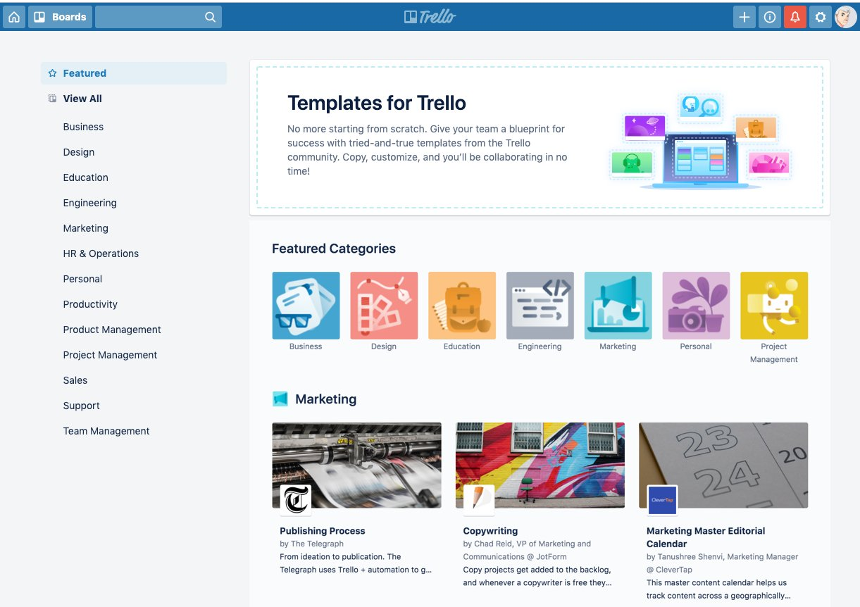 Trello templates new agence sharing communication