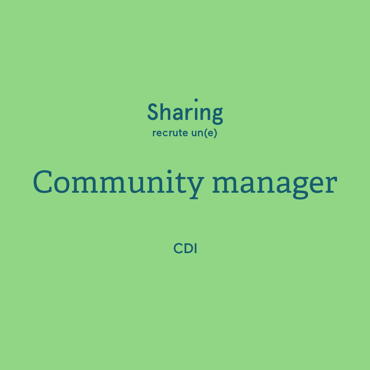 community manager recrutement agence sharing communication cdi recrute