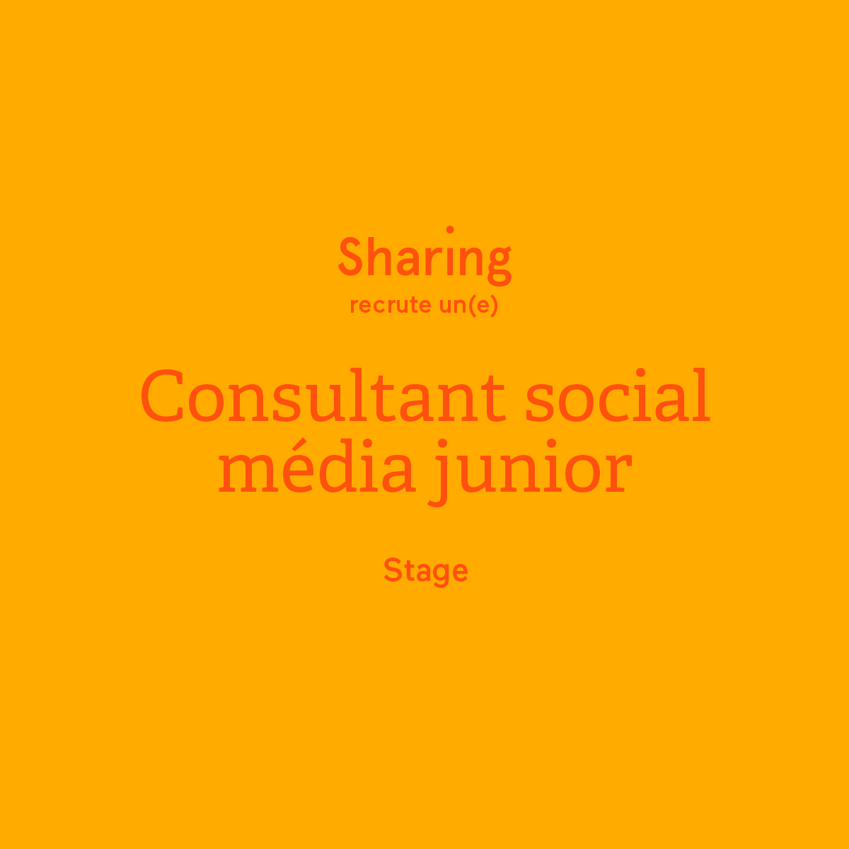 Sharing recrute consultant social media junior stage communication agence
